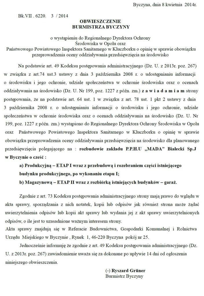 Obwieszczenie Burmistrza Byczyny o wystapieniu do RDOS w Opolu oraz PPIS w Kluczborku copy.jpeg