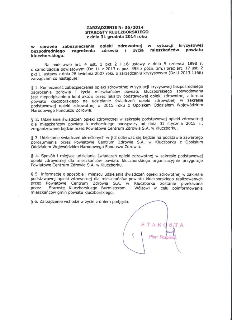Zarządzenie Starosty Kluczborskiego  Nr 36 z dnia 31 gru_dnia 2014 r w sprawie zabezpieczenia opieki zdrowotnej w s_ytuacji kryzysowej.jpeg